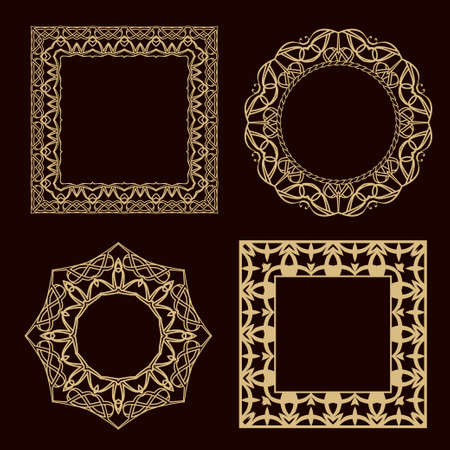 A set of a circular ornament. A set of magnificent gold frames for the monogram,  wedding invitation.
