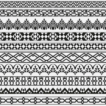 A monochrome vector set of dividers in east style. Borders for the text and execution of various pages and documents. Seamless geometrical patterns. Design elements.