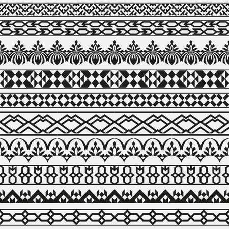Un conjunto de divisores de vector monocromo en estilo oriental. Bordes para el texto y ejecución de varias páginas y documentos. Patrones geométricos sin fisuras. Elementos de diseño.