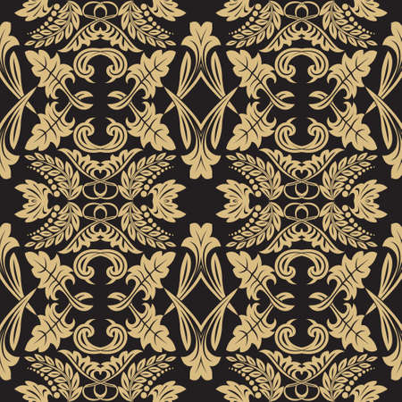 Seamless flower pattern in baroque style. The Damask gold ornament on a black background. Vector illustration.