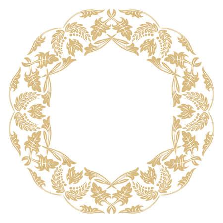 Circular baroque ornament. A gold frame in retro style for a congratulatory, invitations, decoration. Иллюстрация