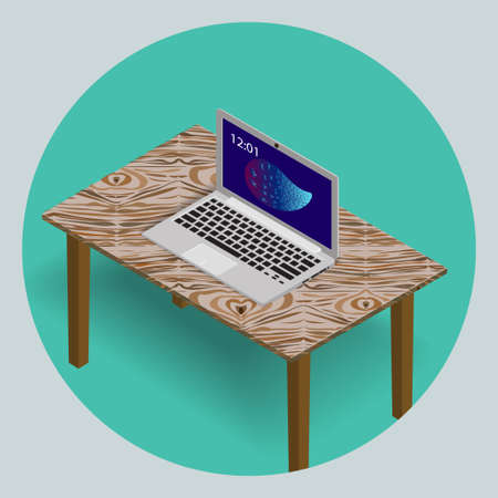 The laptop on the wooden textured table. 3D. An isometric vector icon in flat style.