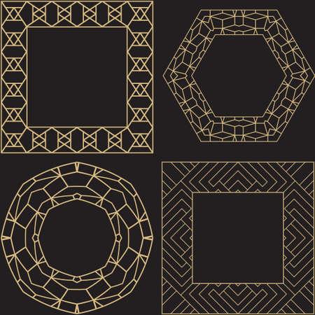 A set art circular and rectangular ornament. Magnificent gold frame for monograms, a logo, invitation on a wedding. Vector graphics. 일러스트