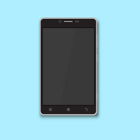 Realistic black smartphone with the empty screen. Flat design. The vector illustration isolated on a blue background.