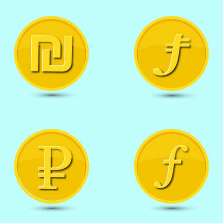 A set of icons of the world currencies in flat style isolated on a light background. The shekel, lira, ruble, gulden is shown. Vector illustration.