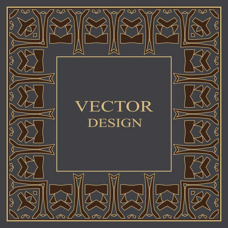 Gold baroque frame. Damascus. An art ornament with the place for the text, a logo, a congratulation, the invitation, registration. Vector graphics. Vectores