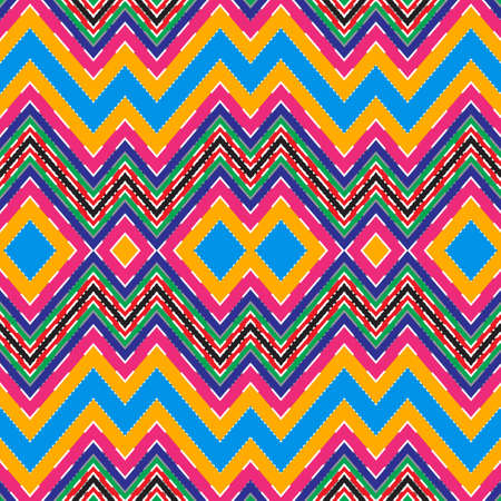 Seamless multi-color abstract pattern. A geometrical ornament from a zigzag of lines of various thickness. Vector illustration. Vetores