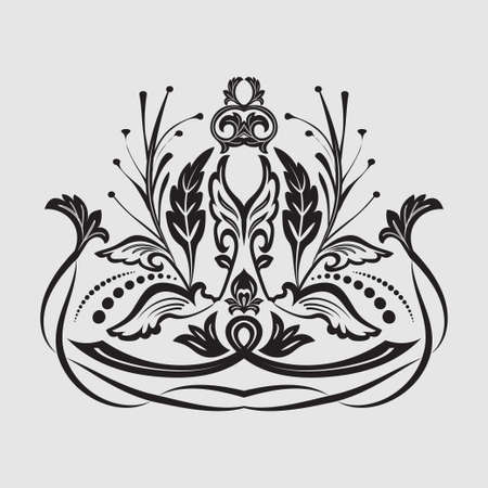 Damascus art pattern. Flower element of design. The vector drawing on a gray background. Vectores