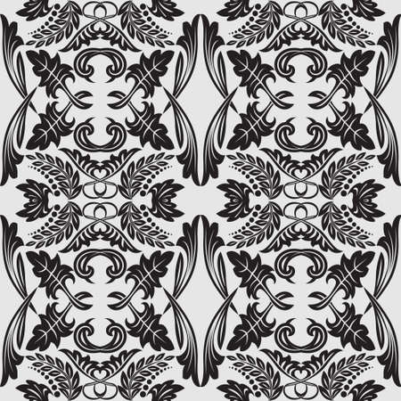 Seamless flower pattern in baroque style.  Damascus art element of design. The vector drawing on a gray background. Ilustrace