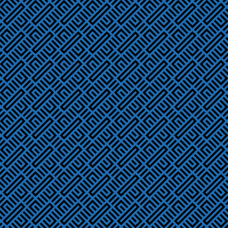 Seamless modern abstract geometrical pattern from blue and black figures. Illusion of a labyrinth. To apply on fabric, a background, packing, a card cover. Vector graphics.