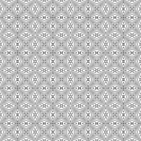 Monochrome seamless abstract pattern. Geometrical texture from oval thin lines of the rhombuses creating forms, a flower. Surface for wrapping paper, shirts, cloths. Vector graphics. Vetores