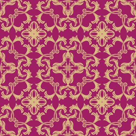 Seamless flower pattern in baroque style. Damascus. Art element of design. The vector drawing on red background.