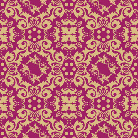 Seamless flower pattern in baroque style.  Damascus. Art element of design. The vector drawing on red background. Ilustrace