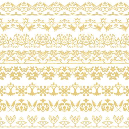 Un conjunto de vectores de divisores en estilo oriental. Elementos geométricos de diseño y ejecución de páginas. Vector.