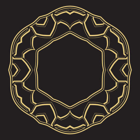 Geometrical circular linear ornament. A gold frame for monograms, the  invitation on a wedding. Vector.