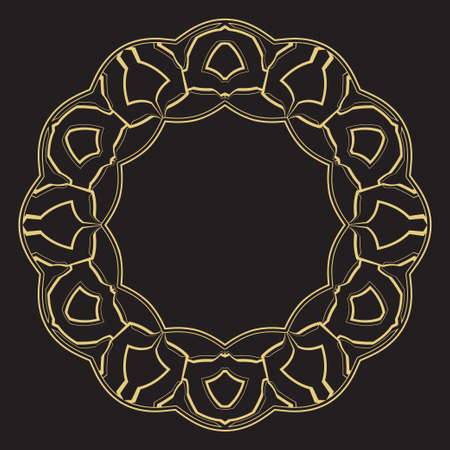 Geometrical circular linear ornament. A gold frame for monograms, the invitation on a wedding. Vector. Illustration