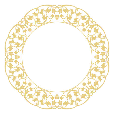 Round baroque ornament. Damascus. A gold flower frame in retro style for a congratulation, the invitation, ornament. Vector graphics. Illustration