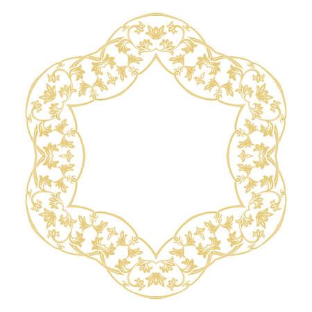 Round baroque ornament. Damascus. A gold flower frame in retro style for a congratulation, the invitation, ornament. Vector graphics.