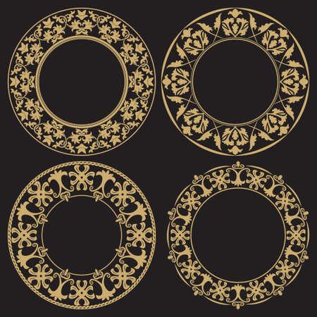 Set di cornici d'epoca d'oro. Ornamento barocco circolare. Elemento decorativo di design del menu, inviti, biglietti. Grafica vettoriale.