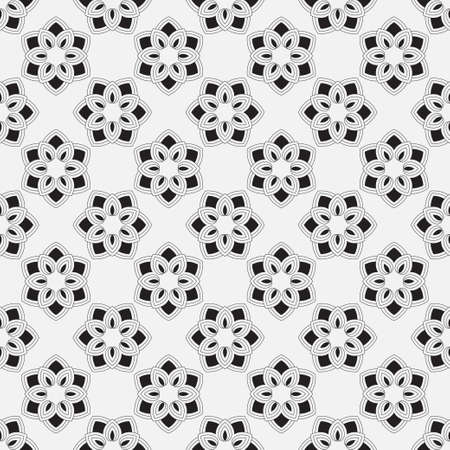 Monochrome seamless abstract pattern. Geometrical texture from oval thin lines of the rhombuses creating forms, a flower.  Surface for wrapping paper, shirts, cloths.  Vector graphics.