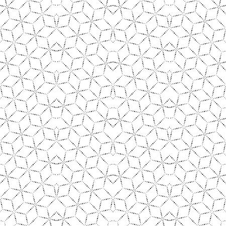 Modern linear seamless pattern. Dashed line. An abstract geometrical ornament of design from the repeating rectangles and rhombuses. Vector graphics.