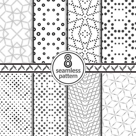 A modern set of the seamless vector templates consisting of black points, circles and geometrical forms. Abstract background of design of the card, cover, flyer. Vector illustration.