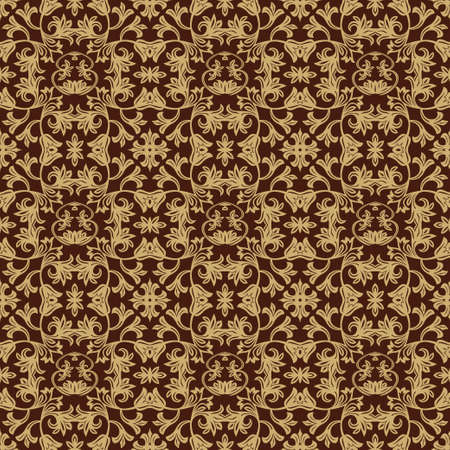 Seamless wall-paper in baroque style. A golden-red flower ornament for fabric, wall-paper, packings. Graphic vector drawing.