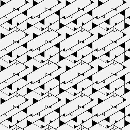 Modern linear seamless pattern. An abstract geometrical ornament of design from the repeating rectangles and rhombuses. Vector graphics.