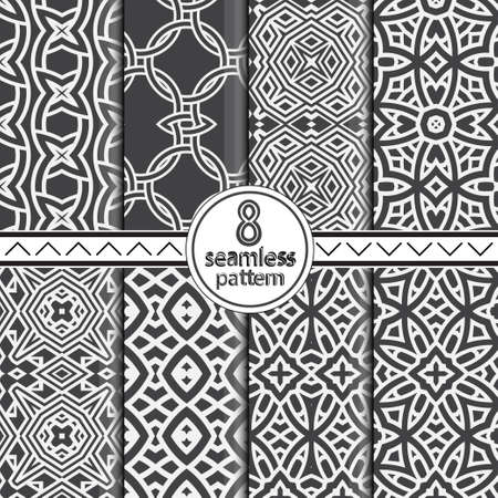 Set of seamless lacy patterns. Vintage decorative ornament of east style. A modern vector element of design on fabric, prints, wall-paper, packing, a covering.