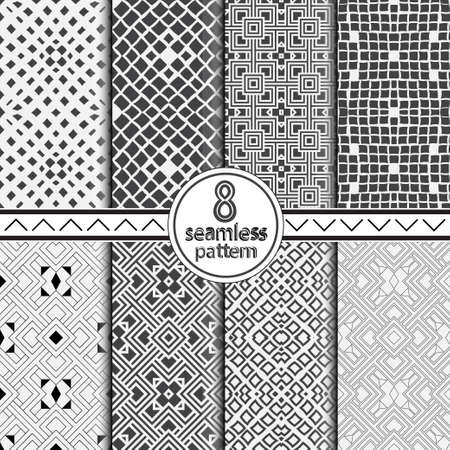 Set monochrome seamless geometrical patterns. Abstract graphic texture from thin lines. Vector illustration. An abstract background for design of the card, a cover, a flyer. Vector illustration.