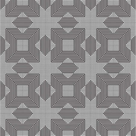 Seamless vector background. An abstract monochrome pattern with points and fat lines. A geometrical ornament of design of infinitely repeating rhombuses and rectangles.