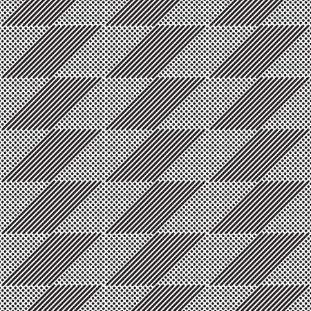Seamless vector background. An abstract monochrome pattern with points and fat lines. A geometrical ornament of design of infinitely repeating forms.