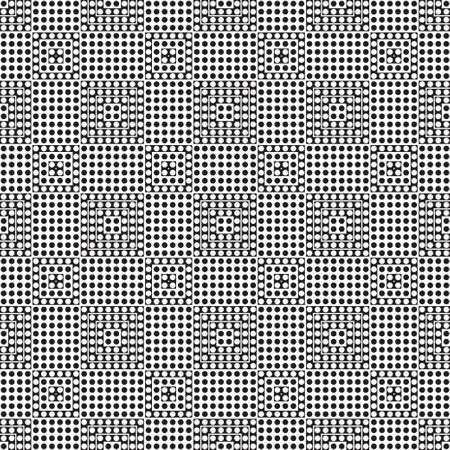 Seamless vector background. An abstract monochrome pattern with points. A geometrical ornament of infinitely repeating forms. Simple elements of design.