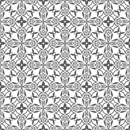 Seamless vector models. A flower mosaic with regular alternation of geometrical forms with rhombuses, diamonds, rectangles. Abstract ornament of graphic design.
