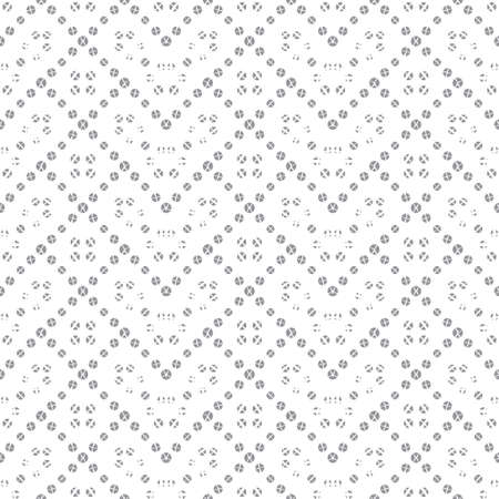Seamless vector models. Modern geometrical minimalist half tone texture. An abstract ornament from the scattered points in the form of the repeating circle, a rhombus, a rectangle, a dotted line.