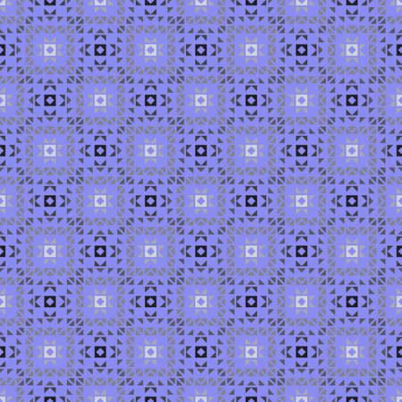 Seamless geometrical pattern. A modern ornament with cubes, triangles, rhombuses on a blue background. Infinitely alternating half tone a graphic pattern. Vector element of design.