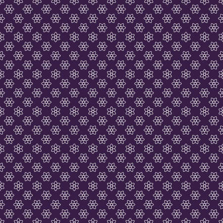 Seamless flower template. An abstract ornament from white daisies on a lilac background. Infinitely alternating graphic pattern. Vector element of design.