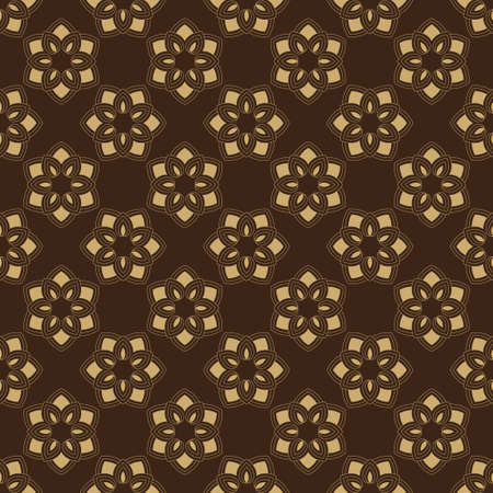 Seamless flower template. An abstract ornament on a brown background. Infinitely alternating graphic pattern. Vector element of design.