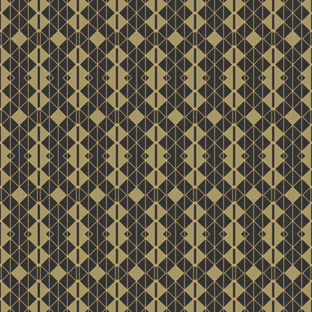 Seamless geometrical pattern. A magnificent modern ornament with cubes, triangles, rhombuses, the thin gold line. Infinitely alternating graphic pattern. Vector element of design.