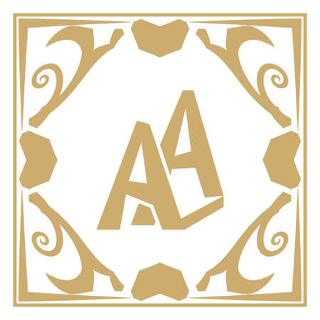 Monogram with double letter A in an original gold frame. An abstract rectangular frame with the place for the text. A logo for business. A template for cafe, bars, boutiques Vector element of design. Illustration