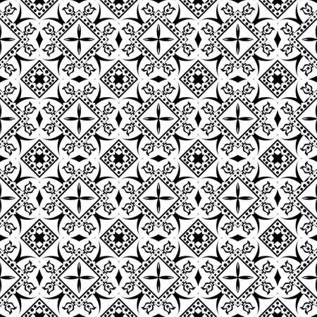 Seamless vector flower pattern. An abstract background with regularly repeating rhombuses, flowers, points, oval forms. Elements of design of fabric, packing, wall-paper on a wall.