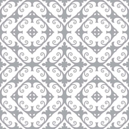 Seamless vector flower pattern. An abstract background with regularly repeating rhombuses, flowers, oval forms. Elements of design of fabric, packing, wall-paper on a wall. Stock Illustratie