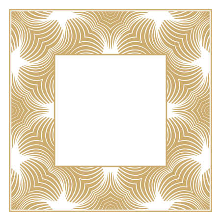 Rectangular vector ornament. A gold decorative frame for monograms, the logo, invitation on a wedding, the menu. The element of graphic design isolated on a white background.