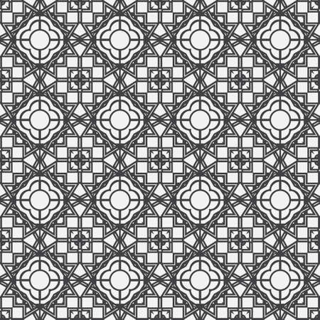 Monochrome seamless abstract pattern. Geometrical texture from oval thin lines of the rhombuses creating forms, a flower. Lace. Surface for wrapping paper, shirts, cloths. Vector graphics.