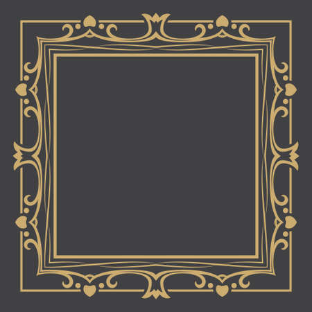 Thin gold decorative frame. An elegant element of design with the place for the text. Production of invitations, menu, cafe and boutiques. Vector.
