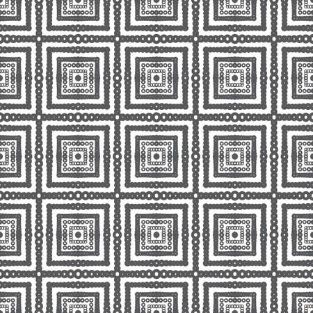 Seamless vector background. Abstract geometric texture with rectangle, circles, line. Modern white and black ornament. Graphic design element.