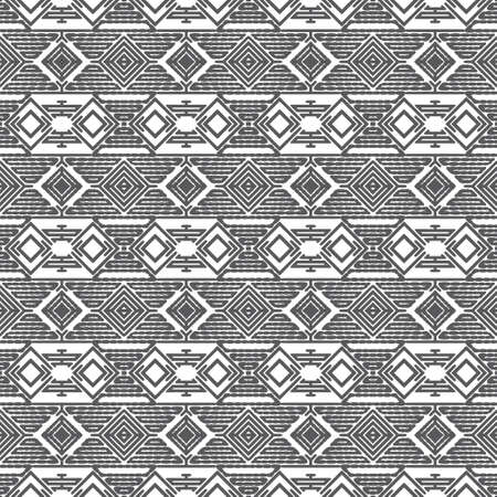 Seamless vector background. Abstract geometric texture with stripe, rhombes, line. Modern white and black ornament. Graphic design element.