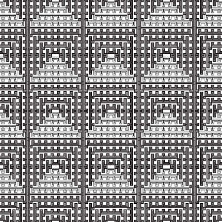 Seamless vector background. Abstract geometric pattern with stripe, squares. Modern white and black ornament. Simple lattice graphic design.