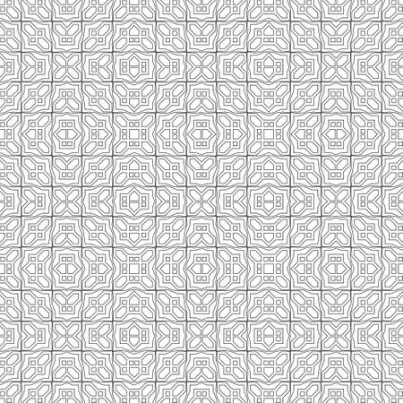 Seamless vector background. Abstract geometric pattern with rombs, squares, thin line. Modern white and black ornament. Simple graphic design of the grid.
