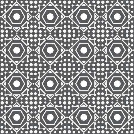 Seamless vector background. Abstract geometric pattern with rombs, squares, circles. Modern white and black ornament. Graphic design element.